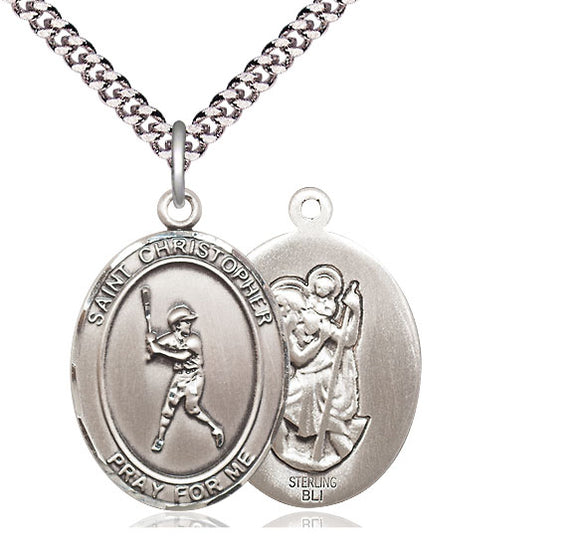 Bliss St Christopher Baseball Batter Patron Saint Medal Pendant Necklace