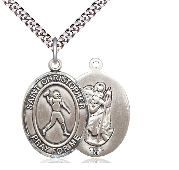 Bliss St Christopher Football Patron Saint Medal Pendant Necklace