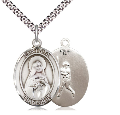 Bliss St Rita Baseball Patron Saint Medal Pendant Necklace