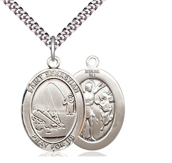 Bliss St Sebastian Fishing Patron Saint Medal Pendant Necklace