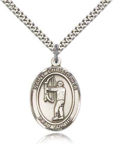 Bliss St Christopher Archery Patron Saint Medal Pendant Necklace