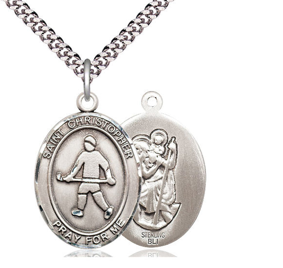 Bliss St Christopher Field Hockey Patron Saint Medal Pendant Necklace