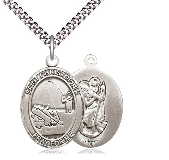 Bliss St Christopher Fishing Patron Saint Medal Pendant Necklace
