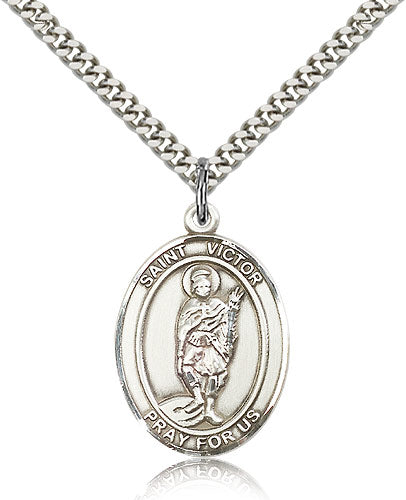 Bliss Manufacturing St Victor of Marseilles Catholic Patron Saint Oval Pendant Necklace