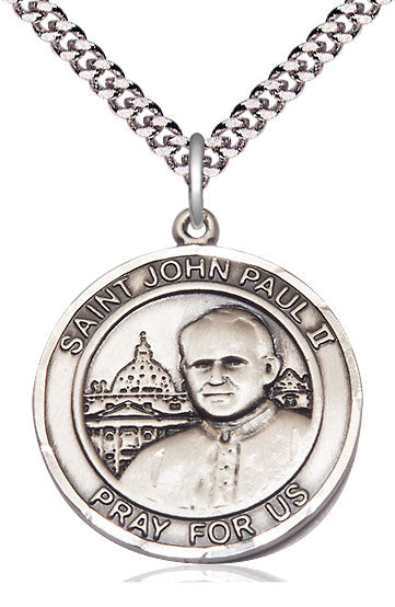 Bliss Large St John Paul II Round Patron Saint Medal Pendant Necklace