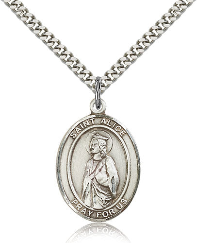 Bliss Manufacturing St Alice Catholic Patron Saint Oval Pendant Necklace