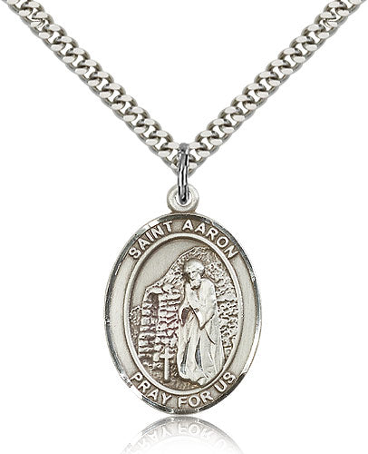 Bliss Manufacturing St Aaron Catholic Patron Saint Oval Pendant Necklace