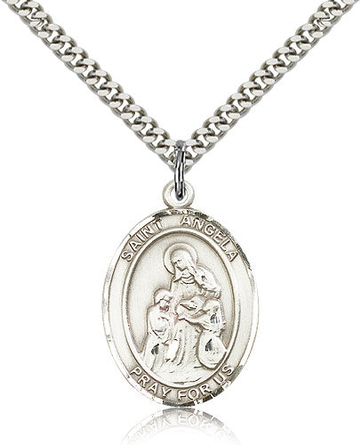 Bliss Manufacturing St Angela Merici Catholic Patron Saint Oval Medal Pendant Necklace