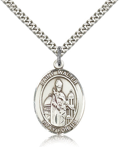 Bliss Manufacturing St Walter of Pontnoise Catholic Patron Saint Oval Pendant Necklace