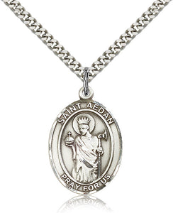 Bliss Manufacturing St Aedan of Ferns Catholic Patron Saint Oval Pendant Necklace