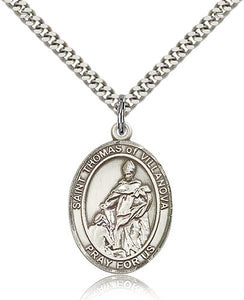 Bliss Manufacturing St Thomas of Villanova Catholic Patron Saint Oval Pendant Necklace