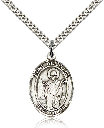 Bliss Manufacturing St Wolfgang Catholic Patron Saint Oval Pendant Necklace
