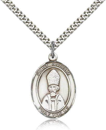 Bliss Manufacturing St Anselm of Canterbury Catholic Patron Saint Oval Pendant Necklace