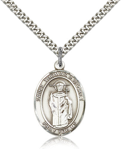 Bliss Manufacturing St Thomas A Becket Catholic Patron Saint Oval Pendant Necklace