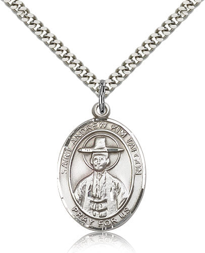 Bliss Manufacturing St Andrew Kim Taegon Catholic Patron Saint Oval Pendant Necklace