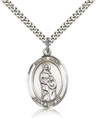 Bliss Manufacturing St Anne Catholic Patron Saint Oval Pendant Necklace