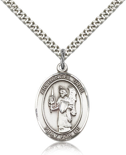 Bliss Manufacturing St Uriel the Archangel Catholic Patron Saint Oval Pendant Necklace