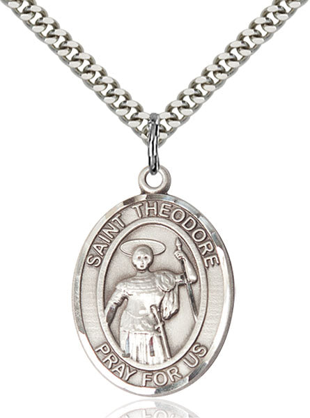 Bliss Manufacturing St Theodore Stratelates Catholic Patron Saint Oval Pendant Necklace