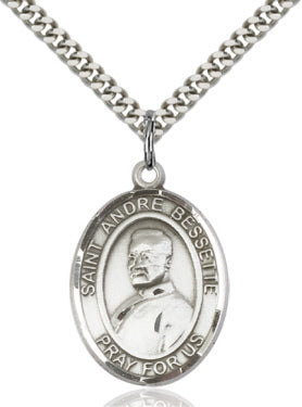 Bliss Manufacturing St Andre Bessette Catholic Patron Saint Oval Pendant Necklace