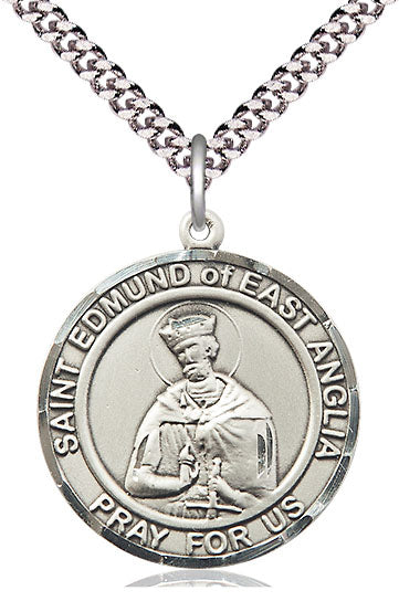 Bliss Large St Edmund of East Anglia Round Patron Saint Sterling Silver Medal Pendant Necklace