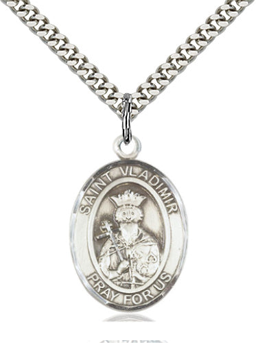 Bliss Manufacturing St Vladimir Catholic Patron Saint Oval Pendant Necklace