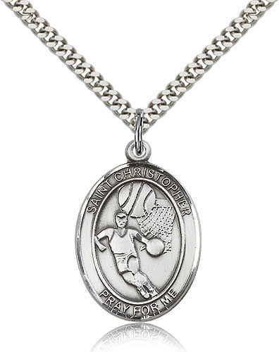 Bliss St Christopher Basketball Patron Saint Medal Pendant Necklace