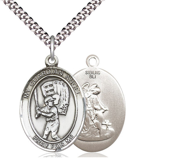 Bliss Guardian Angel Baseball Patron Saint Medal Pendant Necklace