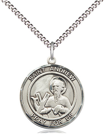 Bliss Manufacturing St Andrew the Apostle Round Patron Saint Sterling Silver Medal Pendant Necklace