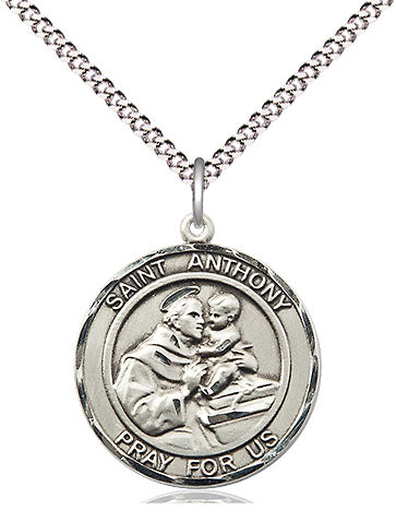 Bliss Manufacturing St Anthony of Padua Patron Saint Sterling Silver Medal Pendant Necklace
