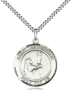 Bliss Manufacturing St Bernadette Round Patron Saint Sterling Silver Medal Pendant Necklace