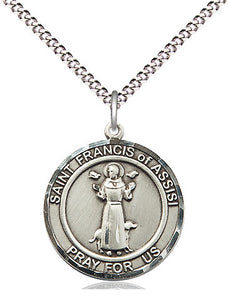 Bliss Manufacturing St Francis of Assisi Round Patron Saint Medal Pendant Necklace