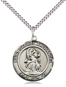 Bliss Manufacturing St Gabriel the Archangel Round Patron Saint Medal Pendant Necklace