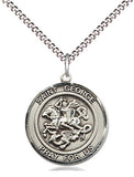 Bliss Manufacturing St George Round Patron Saint Medal Pendant Necklace