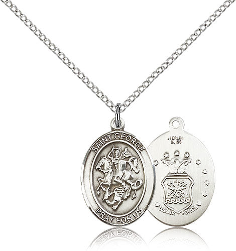 Air Force Medium St George Sterling Silver Patron Saint Religious Medal Necklace by Bliss Mfg