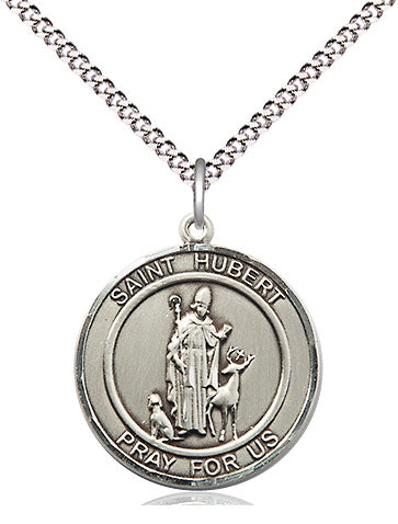 Bliss Manufacturing St Hubert of Liege Round Patron Saint Medal Pendant Necklace