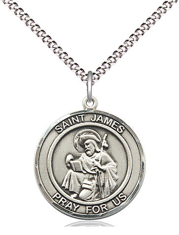 Bliss Manufacturing St James the Greater Round Patron Saint Medal Pendant Necklace