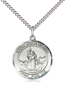 Bliss Manufacturing St Joan of Arc Round Patron Saint Medal Pendant Necklace