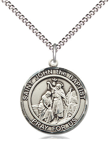 Bliss Manufacturing St John the Baptist Round Patron Saint Medal Pendant Necklace
