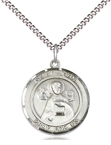 Bliss Manufacturing St John the Apostle Round Patron Saint Medal Pendant Necklace