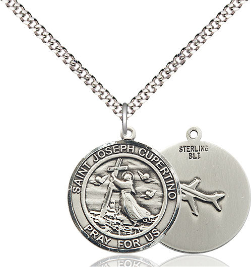 Bliss Manufacturing St Joseph of Cupertino Round Patron Saint Medal Pendant Necklace