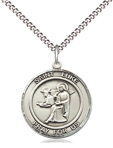 Bliss Manufacturing St Luke the Apostle Round Patron Saint Medal Pendant Necklace