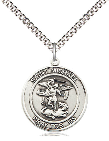 Bliss Manufacturing St Michael Archangel Round Patron Saint Medal Pendant Necklace