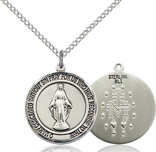 Bliss Manufacturing Miraculous Medal Sterling Silver, Gold-filled and 14kt Gold Pendant Necklace