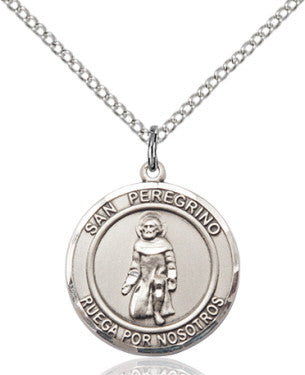 Bliss San Peregrino/St Peregrine Spanish Patron Saint Sterling Silver Pendant Necklace w/Chain