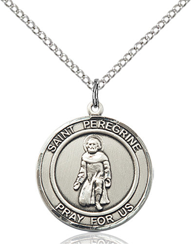 Bliss Manufacturing St Peregrine Patron Saint Sterling Silver Medal Pendant Necklace