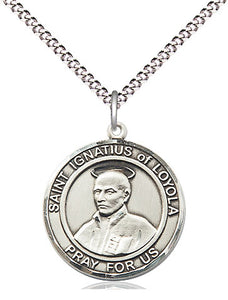 Bliss Manufacturing St Ignatius of Loyola Round Patron Saint Medal Pendant Necklace