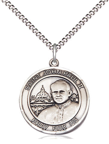 Bliss Manufacturing St John Paul II Round Patron Saint Medal Pendant Necklace