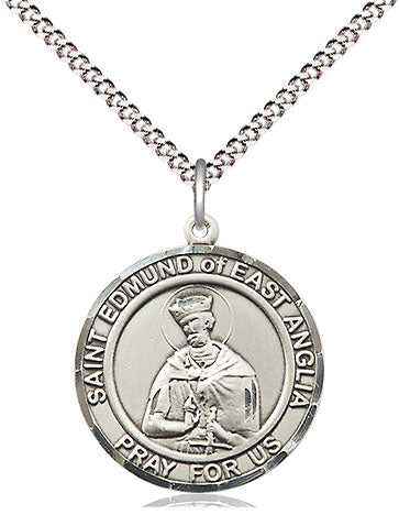 Bliss Manufacturing St Edmund of East Anglia Round Patron Saint Medal Pendant Necklace