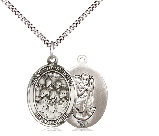 Bliss St Christopher Choir Music Patron Saint Medal Pendant Necklace