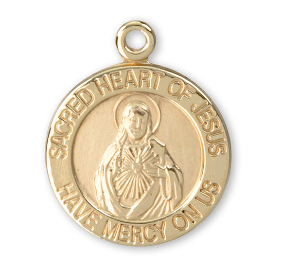 HMH Religious Round Sacred Heart of Jesus 14kt Solid Gold Medal w/Jump Ring